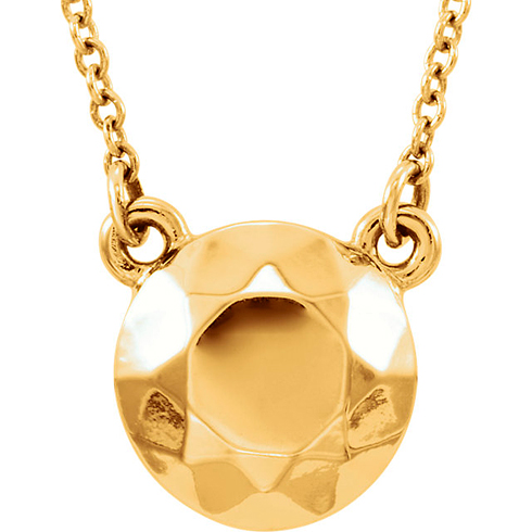 14kt Yellow Gold Faceted Design Circle 16 1/2in Necklace