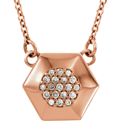 14kt Rose Gold .08 ct Diamond Hex 16in Necklace