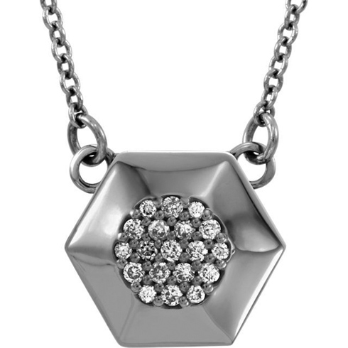 14kt White Gold .08 ct Diamond Hex 16in Necklace