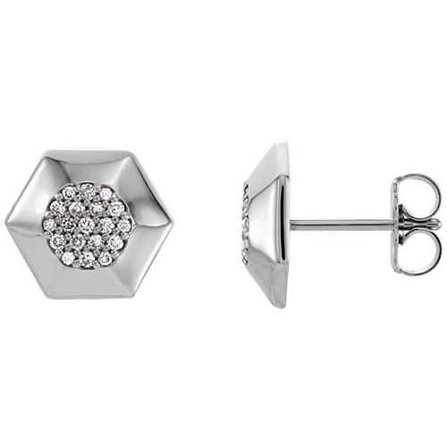 14kt White Gold 1/6 ct Diamond Hex Earrings