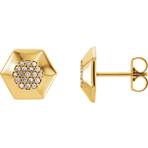 14kt Yellow Gold 1/6 ct Diamond Hex Earrings