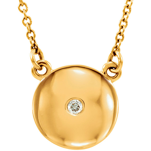 14kt Yellow Gold Diamond Accent Domed Charm on 16 1/2in Chain