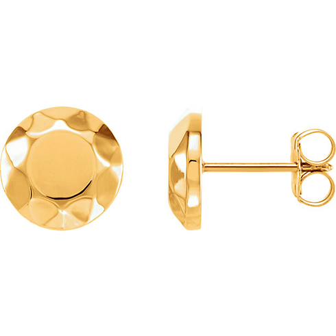 14kt Yellow Gold Faceted Design Circle Earrings