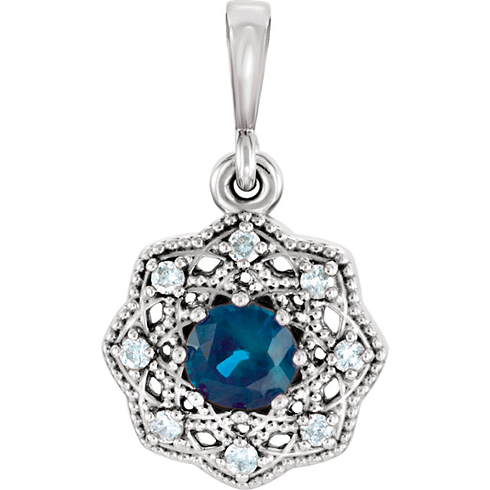14kt White Gold 3/8 ct Blue Sapphire Halo Pendant with Diamond Accents