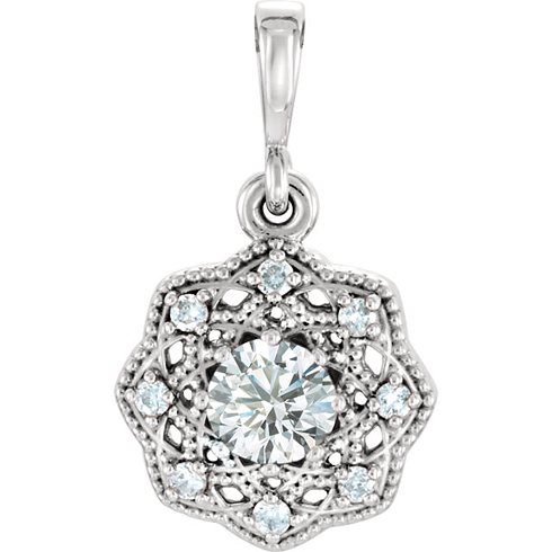 14kt White Gold 1/3 ct tw Diamond Halo Beaded Pendant