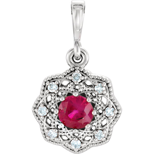 14kt White Gold 1/3 ct Ruby Halo Pendant with Diamond Accents