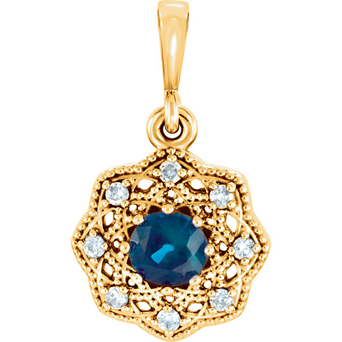 14kt Yellow Gold 3/8 ct Blue Sapphire Halo Pendant with Diamond Accents