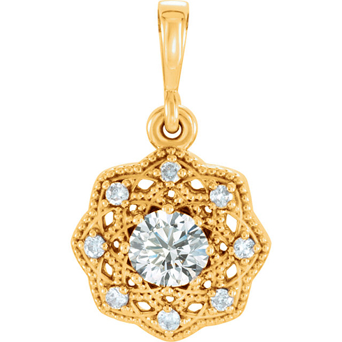 14kt Yellow Gold 1/3 ct tw Diamond Halo Beaded Pendant