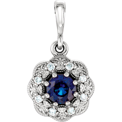 14kt White Gold 3/8 ct Blue Sapphire Vintage Style Halo Pendant with Diamond Accents