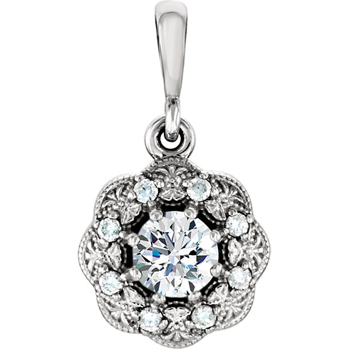 14kt White Gold 1/3 ct tw Diamond Vintage Style Halo Pendant