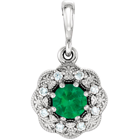 14kt White Gold 1/4 ct Emerald Vintage Style Halo Pendant with Diamond Accents