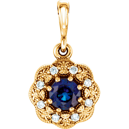 14kt Yellow Gold 3/8 ct Blue Sapphire Vintage Style Halo Pendant with Diamond Accents