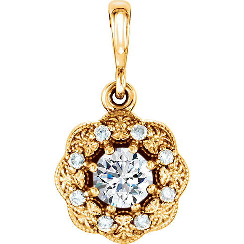 14kt Yellow Gold 1/3 ct tw Diamond Vintage Style Halo Pendant