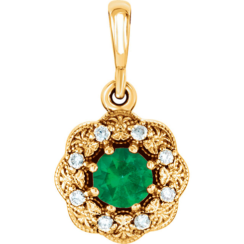 14kt Yellow Gold 1/4 ct Emerald Vintage Style Halo Pendant with Diamond Accents
