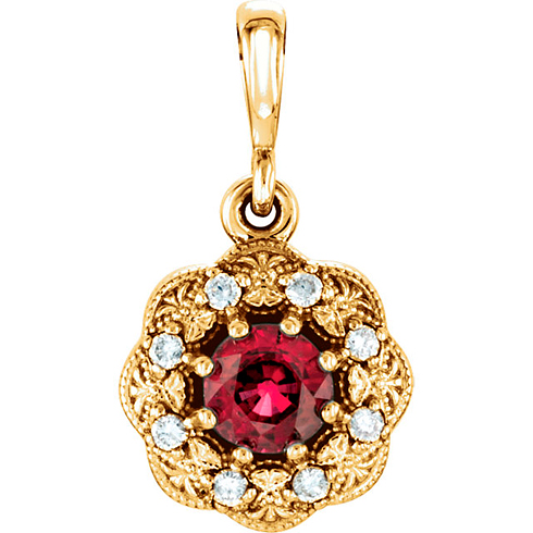 14kt Yellow Gold 1/3 ct Ruby Halo Pendant with Diamond Accents