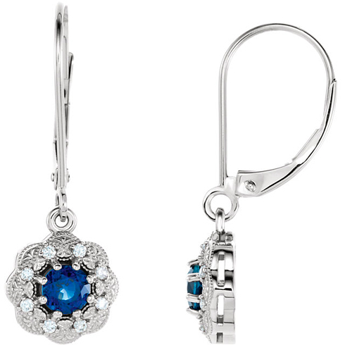 14kt White Gold 3/4 ct Blue Sapphire Vintage Style Halo Leverback Earrings