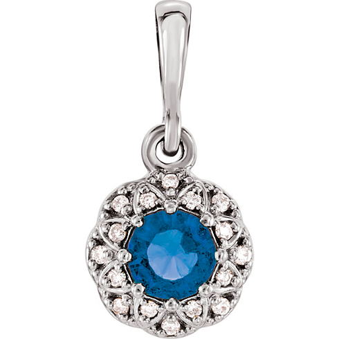 14kt White Gold 3/8 ct Blue Sapphire Petite Halo Pendant with Diamond Accents