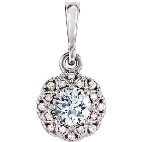 14kt White Gold 1/3 ct tw Diamond Petite Halo Pendant