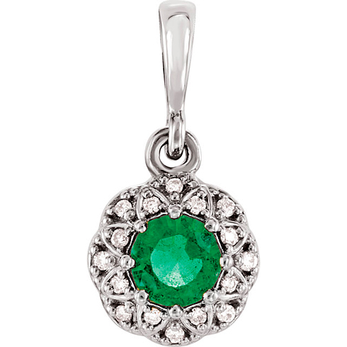 14kt White Gold 1/4 ct Emerald Petite Halo Pendant with Diamond Accents
