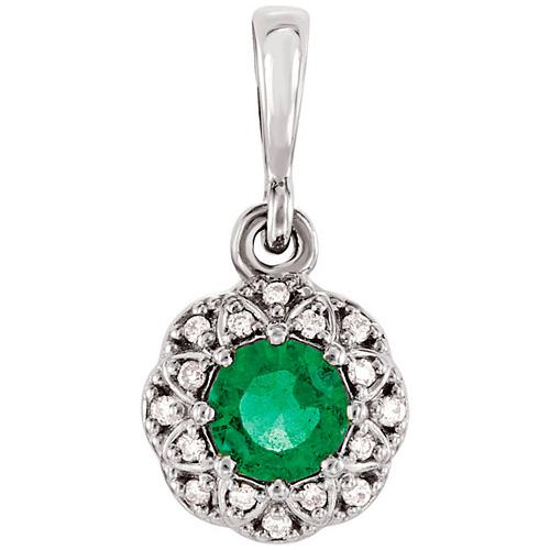 14kt White Gold 1/4 ct Emerald Petite Halo Pendant with Diamonds