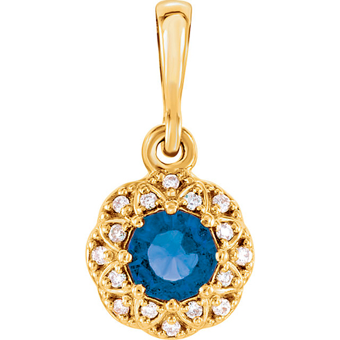 14kt Yellow Gold 3/8 ct Blue Sapphire Petite Halo Pendant with Diamond Accents
