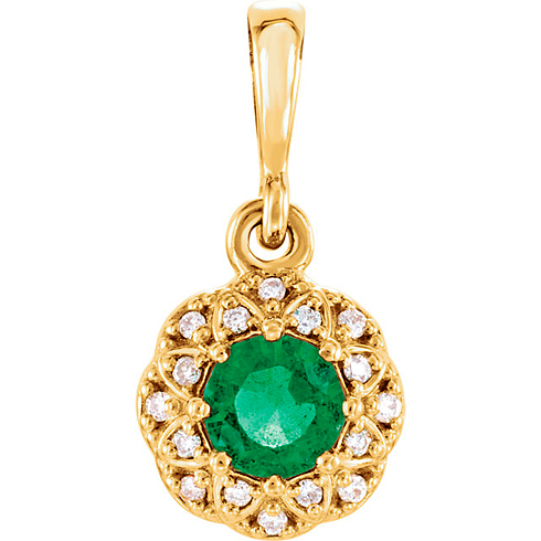 14kt Yellow Gold 1/4 ct Emerald Halo Pendant with Diamond Accents