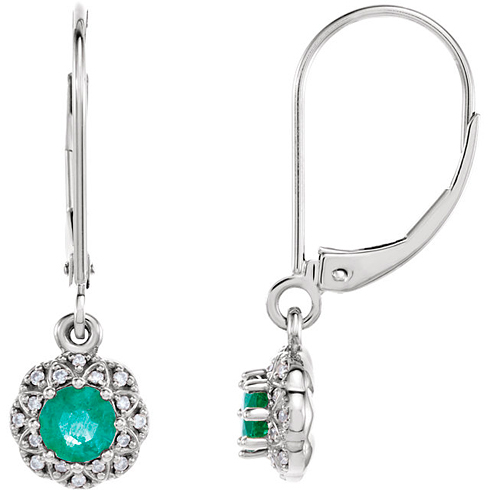 14kt White Gold 1/2 ct tw Emerald Vintage Style Halo Leverback Earrings