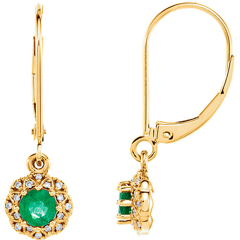 14kt Yellow Gold 1/2 ct tw Emerald Vintage Style Halo Leverback Earrings