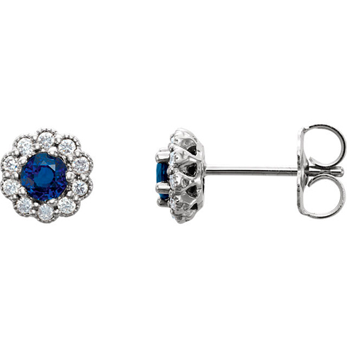 14kt White Gold 1/3 ct Blue Sapphire Vintage Style Halo Stud Earrings
