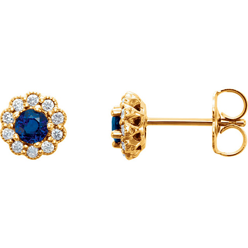 14kt Yellow Gold 1/3 ct Blue Sapphire Vintage Style Halo Stud Earrings