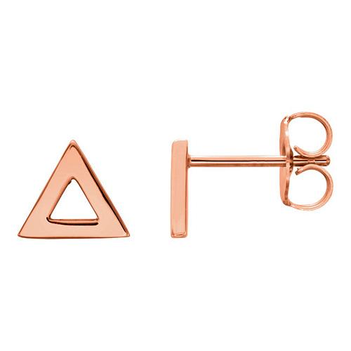14kt Rose Gold Open Triangle Stud Earrings