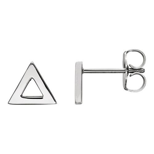 14kt White Gold Open Triangle Stud Earrings