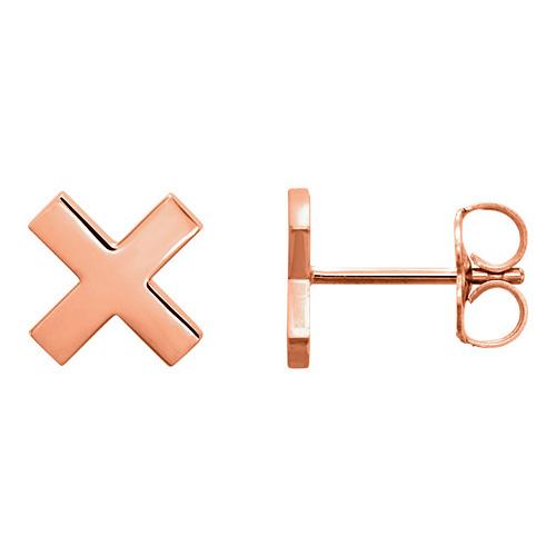 14kt Rose Gold X Stud Earrings