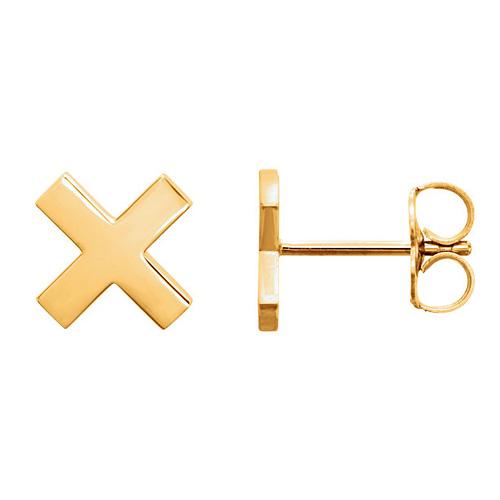14kt Yellow Gold X Stud Earrings