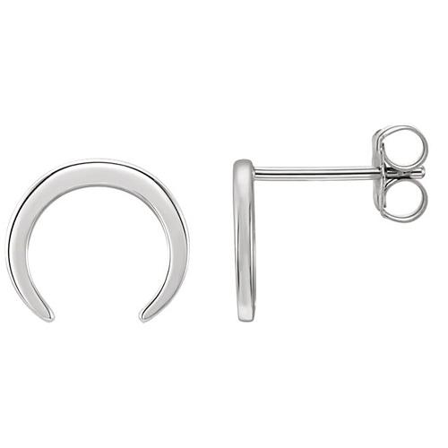 14kt White Gold Crescent Stud Earrings