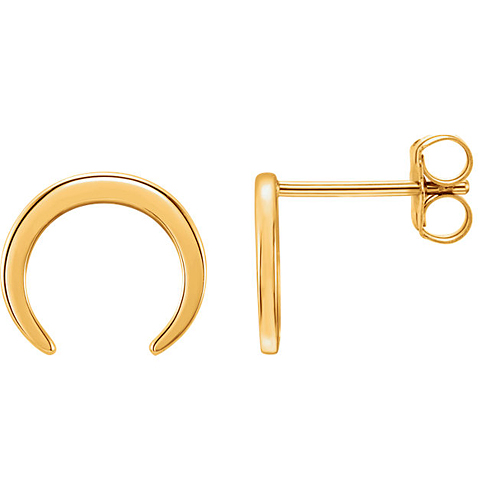 14kt Yellow Gold Crescent Stud Earrings