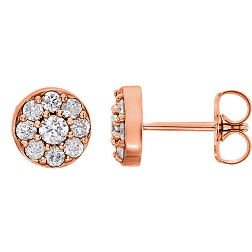14kt Rose Gold 5/8 ct tw ct Diamond Cluster Earrings