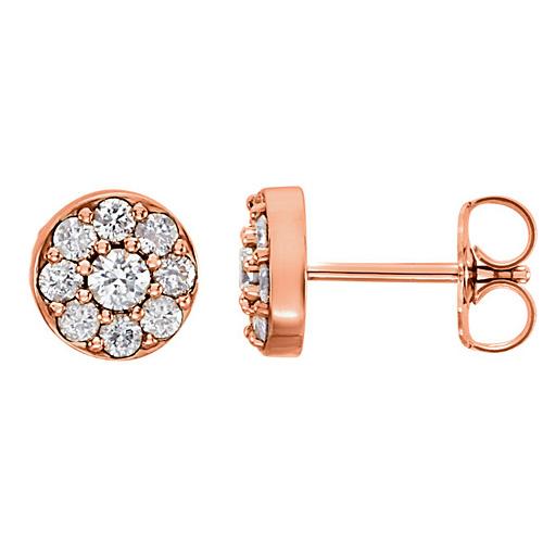 14kt Rose Gold 5/8 ct tw ct Diamond Cluster Earrings