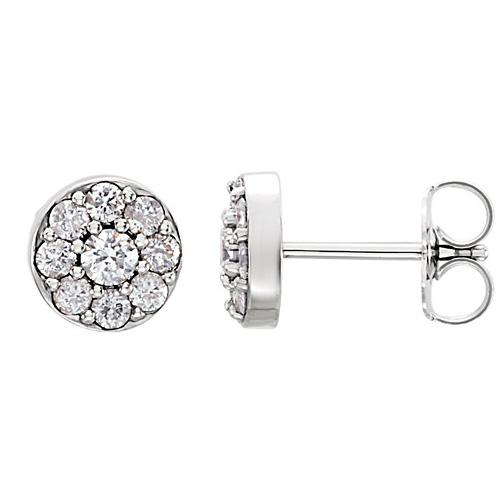 14kt White Gold 5/8 ct tw ct Diamond Cluster Earrings
