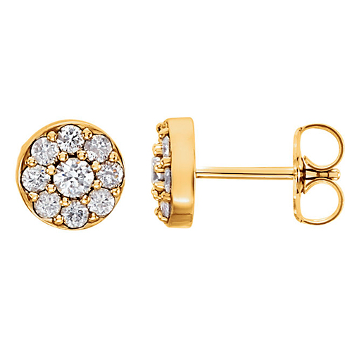 14kt Yellow Gold 5/8 ct tw ct Diamond Cluster Earrings