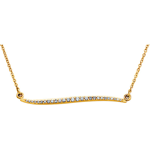 14kt Yellow Gold 1/6 ct Diamond Curvilinear Necklace
