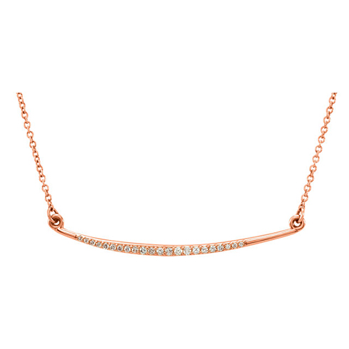 14kt Rose Gold 1/8 ct Diamond Slightly Curved Bar Necklace