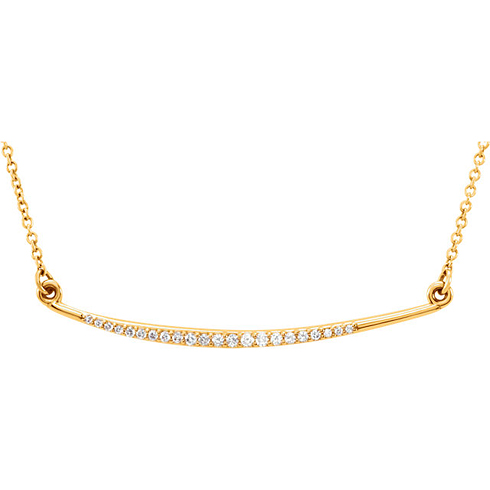 14kt Yellow Gold 1/8 ct Diamond Slightly Curved Bar Necklace