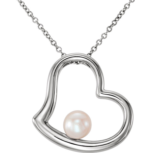 14kt White Gold Freshwater Cultured Pearl Heart 18in Necklace