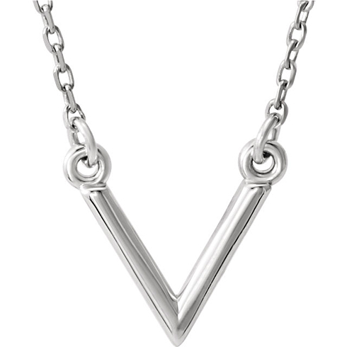 14kt White Gold V Necklace