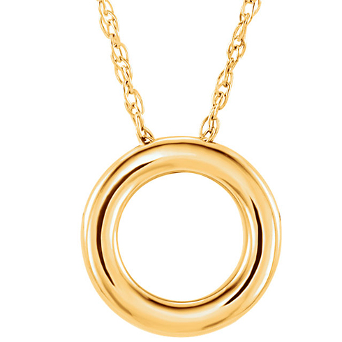 14kt Yellow Gold 1/2in Circle Charm Necklace