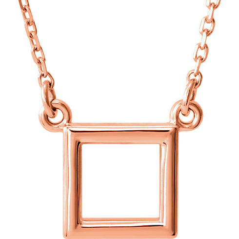 14kt Rose Gold Open Square Necklace