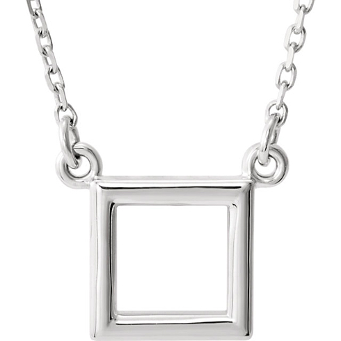 14kt White Gold Open Square Necklace