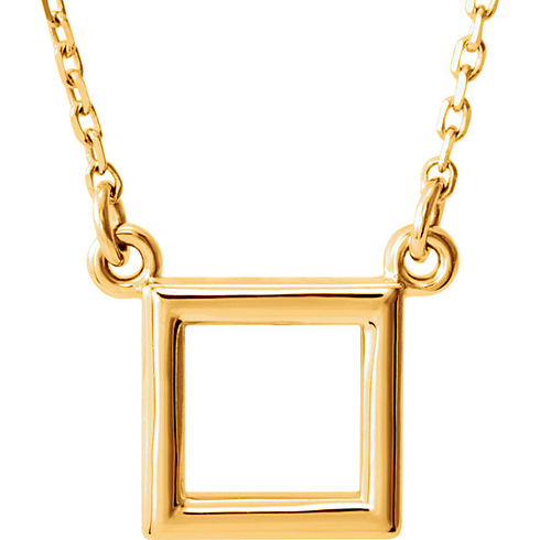 14kt Yellow Gold Open Square Necklace
