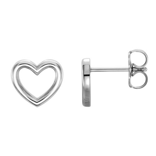 14kt White Gold Open Heart Stud Earrings